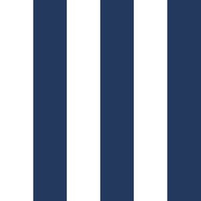 """1"""" Navy and White Stripes -  Vertical - Navy Blue / Navy Peony - 1 Inch / 1 In / 1in"""
