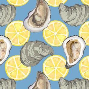 oysters new w lemons gray blue