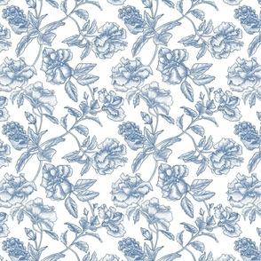 Hibiscus Toile.Blue