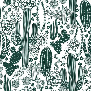 Sonoran Landscape (Emerald on White)