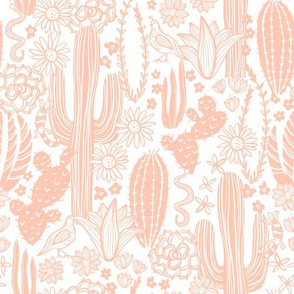 Sonoran Landscape (Light Coral on White)