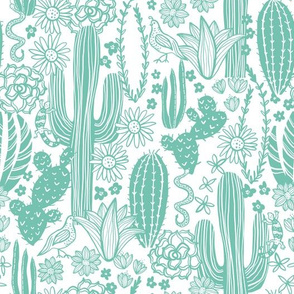 Sonoran Landscape (Mint on White)