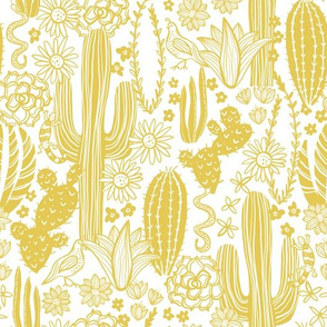 Sonoran Landscape (Mustard on White)