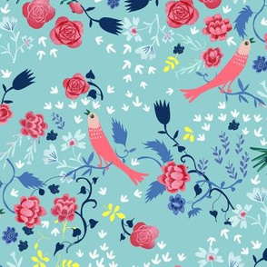 love birds and roses light blue