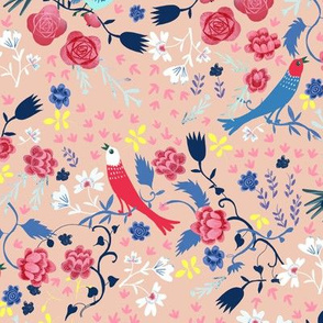 love birds and roses light peach