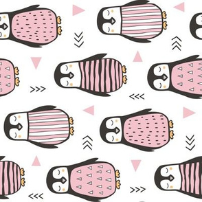 Penguins with Sweater Geometric  and Triangles Pink on White Rotated