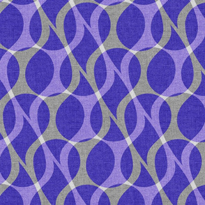 Purple blue layered paisley drops on textured gray