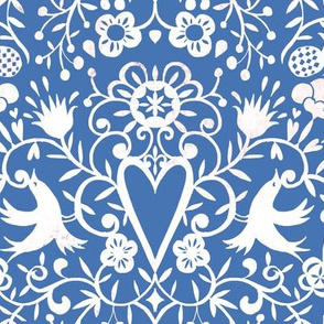 cherry bird lace white on blue