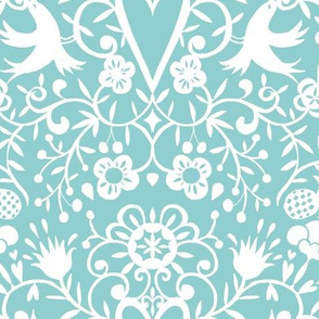 cherry bird lace white on mint smaller