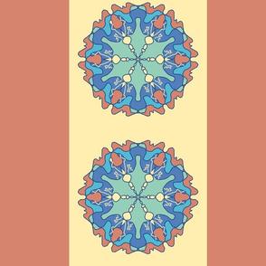 Large - Hexagon Mandala Stripes  in Rust - Pastel Yellow - Blue