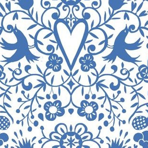 cherry bird lace  blue on white