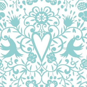 cherry bird lace  mint on white smaller