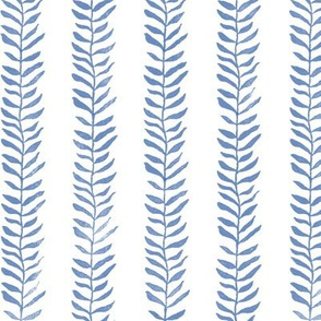 Botanical Block Print in Indigo Blue | Leaf pattern fabric from original block print, plant fabric for garden and coastal decor.