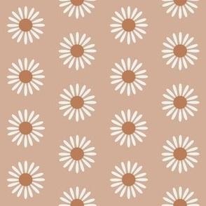 retro daisy fabric - sweet floral daisy design - sfx1213 almond