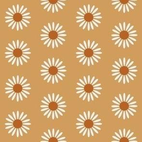 retro daisy fabric - sweet floral daisy design - sfx1144 oak leaf