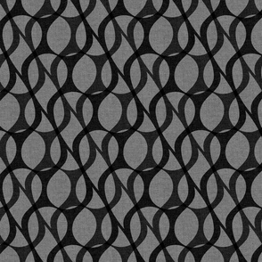 Green layered paisley drops on gray background