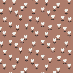heart flowers fabric - sweet feminine floral - sfx1227 cafe