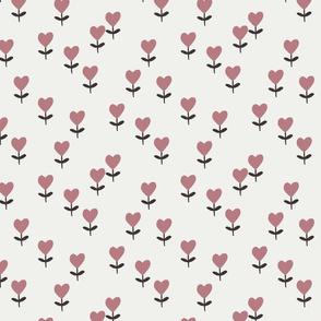 heart flowers fabric - sweet feminine floral - sfx1718 clover