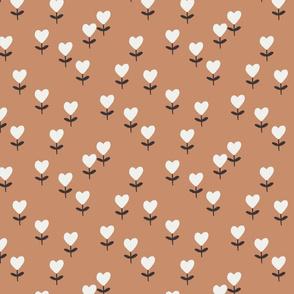heart flowers fabric - sweet feminine floral - sfx1328 sandstone