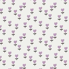 heart flowers fabric - sweet feminine floral - sfx3307 lavender