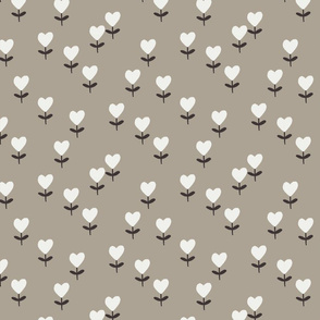 heart flowers fabric - sweet feminine floral - sfx0906 taupe