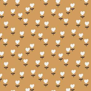 heart flowers fabric - sweet feminine floral - sfx1144 oak leaf