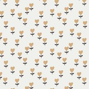 heart flowers fabric - sweet feminine floral - sfx1225 wheat