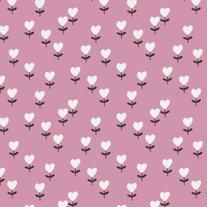 heart flowers fabric - sweet feminine floral - sfx2210 orchid