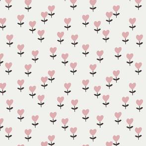 heart flowers fabric - sweet feminine floral - sfx1611 powder
