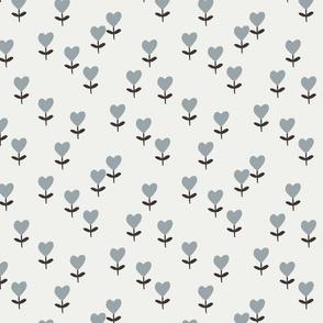 heart flowers fabric - sweet feminine floral - sfx4305 quarry