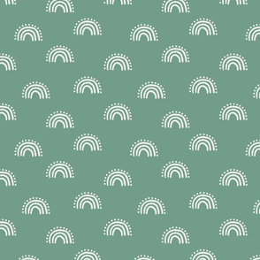 sunset rainbow fabric - earth tones muted boho fabric - sfx5815 rainforest green