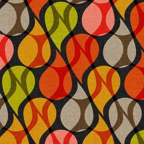 Layered multi color paisley drops on dark textured bg