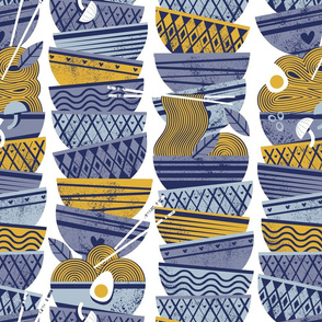 Normal scale // Linked noodle bowls // white background indigo and pastel blue yellow bowls and pasta