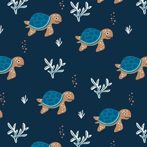 Little under water world baby turtles ocean animals kids design navy blue neutral