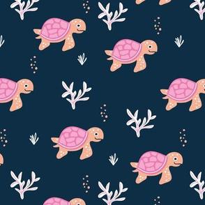 Little under water world baby turtles ocean animals kids design navy blue pink peach girls