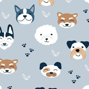 Little puppies and dogs friends japanese kawaii pet lovers paws design kids nursery blue rust copper gray boys