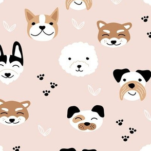 Little puppies and dogs friends japanese kawaii pet lovers paws design kids nursery soft beige sand warm earthy tones rust brown