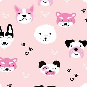 Little puppies and dogs friends japanese kawaii pet lovers paws design kids nursery pink black girls