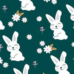 Little kawaii bunny garden sweet rabbit lovers blossom and hare design kids night green pink ochre
