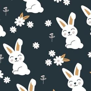 Little kawaii bunny garden sweet rabbit lovers blossom and hare design kids night blue ochre neutral