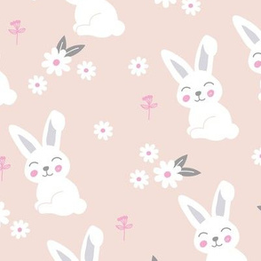 Little kawaii bunny garden sweet rabbit lovers blossom and hare design kids nude beige pink