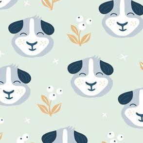 Little kawaii guinea pig garden flowers and kids animals colorful summer print mint gray orange boys