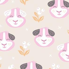 Little kawaii guinea pig garden flowers and kids animals colorful summer print soft beige pink girls
