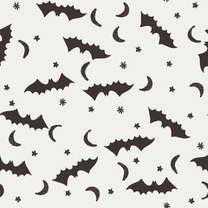 bats fabric - halloween bats moon and stars design - coffee sfx1111