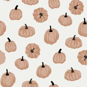 pumpkins fabric - simple minimal pumpkins - sfx1213 almond