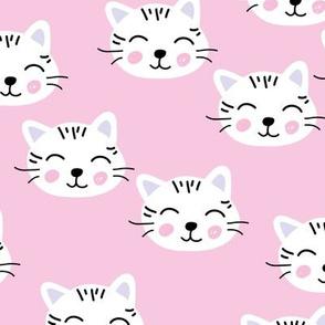 Little kawaii kittens cat faces for cat loving kids pink violet