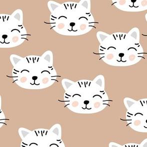 Little kawaii kittens cat faces for cat loving kids neutral nursery latte beige