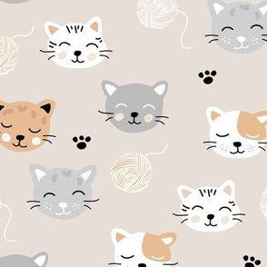 A cat friends lovers home cute kawaii cats faces and kittens with wool beige gray brown neutral nursery