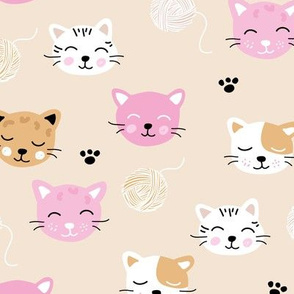 A cat friends lovers home cute kawaii cats faces and kittens with wool beige pink girls