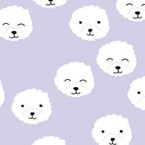 Little adorable fluffy puppy Pomeranian dogs minimal kawaii kids design bright lilac violet lavender